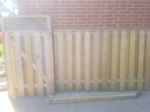 1...Fence panel gate 1... gate  2...4x4 x6 feet posts