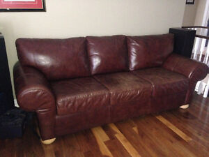 LEATHER sofa - in red brown