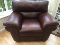Leather suite for sale chair and 2 seater, high quality leather worn slightly on 2 seater
