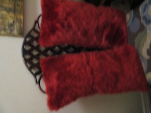 Set of Red fur Kidney style Throw Pillows