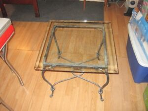 """Glass and iron coffee table: 24"""" x 24"""" x 20"""" high"""