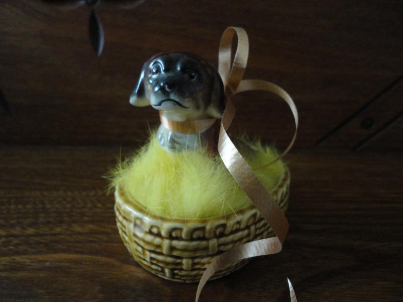 Pekingese Porcelain Sad Puppy Dog in Basket Vintage Japan Figurine