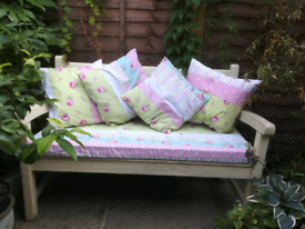 Garden bench and cushions