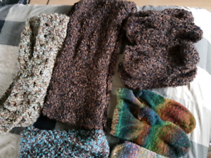Handmade infinity scarfs, mittens, and slippers