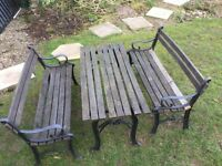 Children's garden patio set table and 2 x benches cast iron and oak
