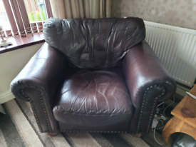 Italian brow leather settee & large chair