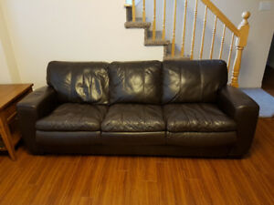 LEATHER HIDE-A-BED COUCH