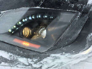 08-14 Cadillac CTS halogen black led strip headlight