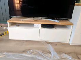 TV stand Besta IKEA with oak board