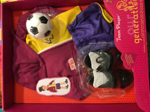 """OUR GENERATION SOCCER CLOTHING FOR 18"""" DOLL BRAND NEW SEALED"""