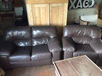 Chocolate Brown Leather Sofa & Chair