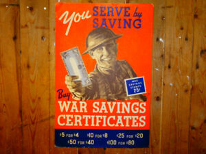 "Original WWII ""You SERVE by SAVING"" Poster with Stand"