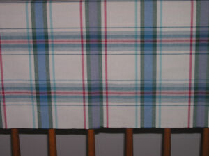 Unused Plaid on Beige Fabric For Sewing Project Like New