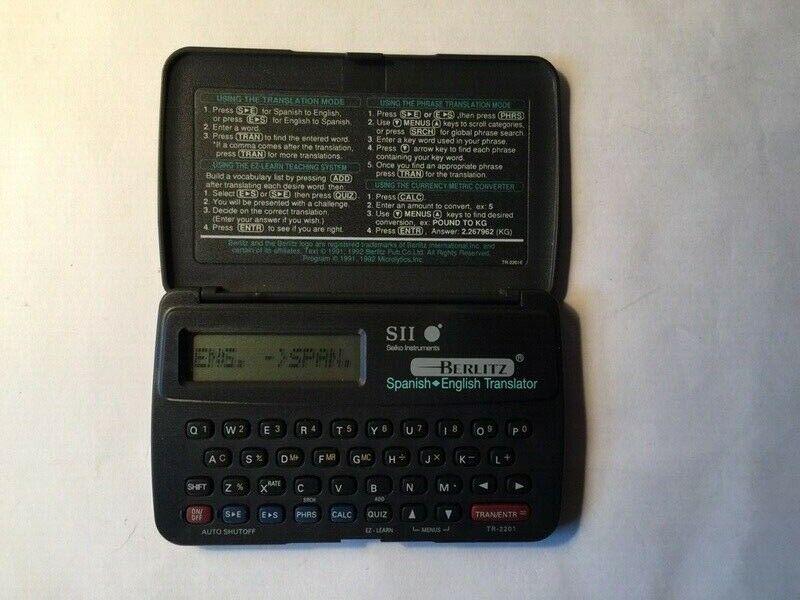 VTG SII Seiko Instruments TR 2201 Berlitz Spanish English Translator (Tested)