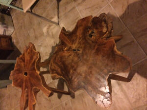 Naturally handmade tree trunk carved wood coffee table $180