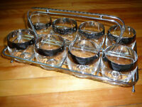 Vintage 1960's silver Mad Men style glasses with Caddy