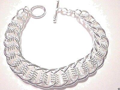 mens/womens link bracelet 12mm  8 inch 925 sterling silver toggle clasp 12 Sterling Silver Toggle Clasp