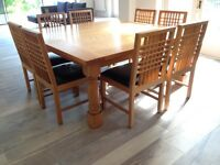 Solid Oak Bespoke 6ft Square Table and Chairs