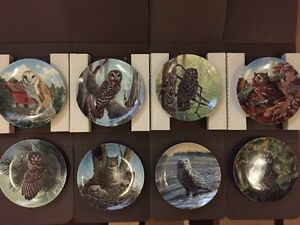 Set of 8 Stately Owl Series Collector Plates