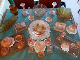 Job lot Collection Pink and Amber Glass items