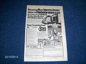 THE HOME GYM CO-RARE 1934 AD-HOME TRAINING CAMP-STRONGMAN AD