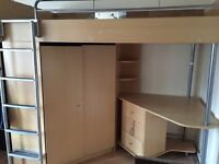 Bunk Bed Cabin Bed with Wardrobe & Desk All-in-one