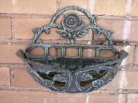 Cast Iron Wall Mount Decorative Flower Basket Planter, Roses