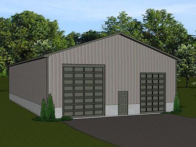 40'x80'  Barn plan with 4 overhead garage doors - blueprint #1335