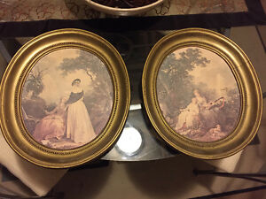 Gold leaf frame antique artwork paintings in classic oval frames