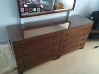 Mahogany Bedroom set Double dresser with mirror, tallboy, table
