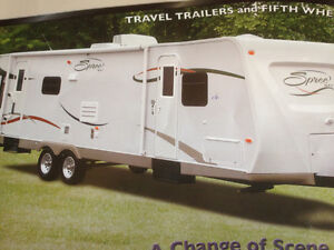 Spree 32 foot travel trailer Quad Bunk Model