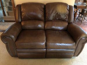 Leather Lazyboy reclining loveseat