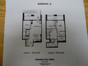 Condo Town House 2 Story Mississauga 3 BR, 3 Bath near Erin Mill