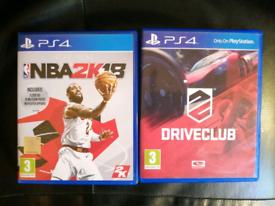 Ps4 Basketball NBA 2k18 and Driveclub