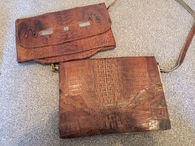 2 vintage women's handbags snakeskin crocodile skin