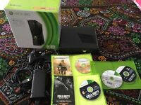 XBOX 360 4GB MATT BLACK WITH CONTROLLER AND 4 GAMES