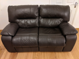 Luxury Brown Leather Recliner 2 Seater