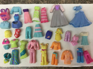 Polly Pocket Dolls(Vintage Mattel) w/clothes, lawn chairs, pool