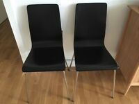 2 black ash and chrome chairs £10 for both