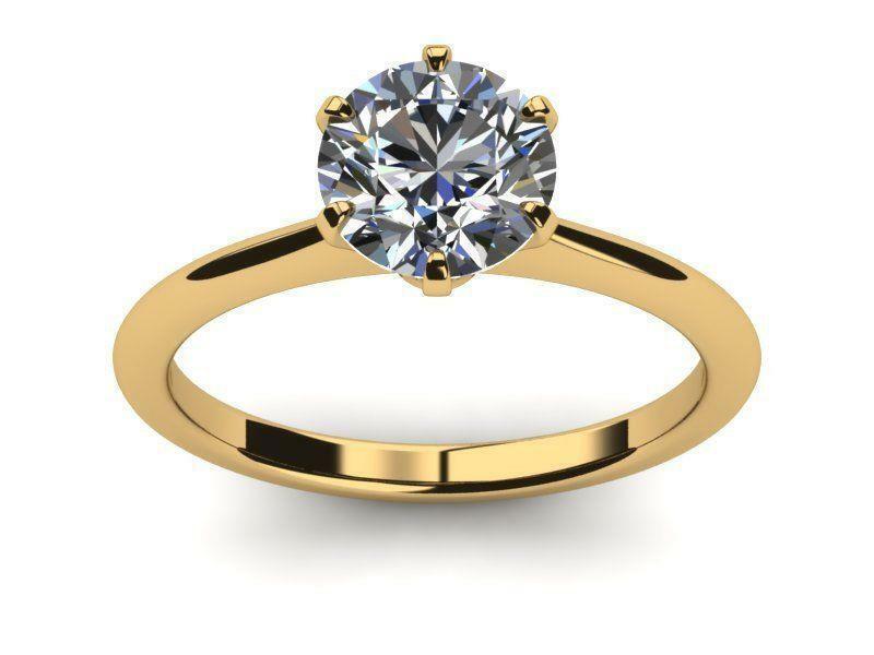 Diamond Round Shape Ring 1 Ct Agi Cert 18 Karat Yellow Gold Knife Edge Womens