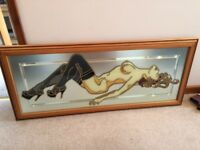 Nude woman glass/mirror mosaic picture in wood frame