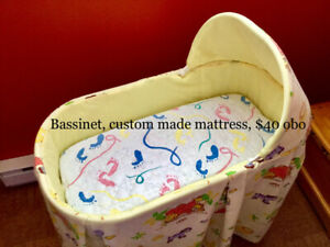 BABY BASSINET, LAMPS, DISHES, BOOTS, CURTAINS & MORE