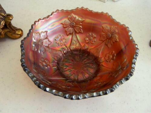 Hard to find Color~Antique FENTON LITTLE FLOWERS Carnival Glass Bowl