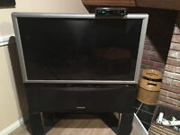 Hitachi Wide Screen TV/HDTV with stand and built in DVD player