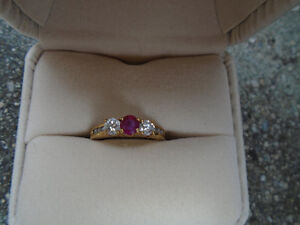 RUBY AND DIAMONDS 14K GOLD RING