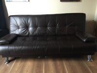 Sofa Bed & Recliner Chair (Brown Leather)