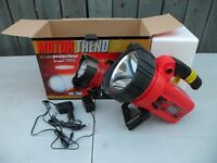 Motor Trend Rechargable LED Flashlight, NEW.  $40. Up to 4 hours