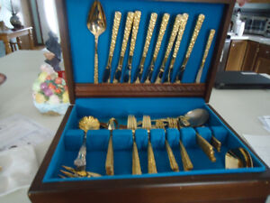 STAINLESS STEEL FLATWARE - ROGERS BROS GOLD PLATED