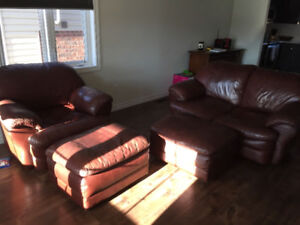 Leather Loveseat and Chair with 2 Ottomans