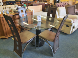 Dining table round glass with 4 chairs